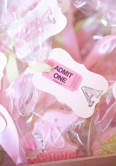 Pink Circus Birthday Party Favors!  See more party planning ideas at CatchMyParty.com!