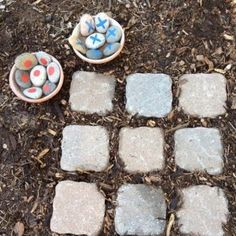 "a how to make garden tic tac toe game....this and some other games (the square game, hop scotch, etc.) would be neat to ""hide"" around an outdoor classroom at the school for part of their service project...                                                                                                                                                      More"