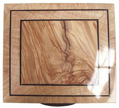Mediterranean olive center framed in maple burl with ebony stringings box top - Handmade wood box