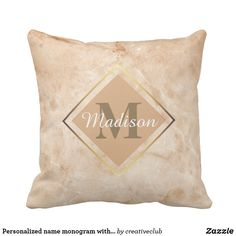 Personalized name monogram with golden frame #monogram #pillow
