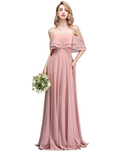 Wedding Dresses - CLOTHKNOW Strapless Chiffon Bridesmaid Dresses Long with  Shoulder Ruffles for Women Girls to Wedding Party Gowns at Women s Clothing  store ... 78254b3f8