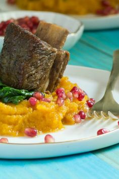 For Dinner: Beer braised short ribs with mashed butternut squash and ...