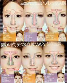 Gyaru face contouring. hummm i never tought that nose countouring could change depending of the face, but make sense