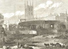 This view shows the site of the approach to London Bridge Station under construction in 1863 at the time of the extensions to Charing Cross and Cannon Street. Victorian London, Vintage London, Old London, London Pictures, Old Pictures, London Bridge, London City, Southwark Cathedral, London History