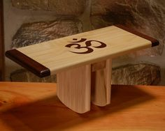 What a calming piece of furniture -Yoga meditation stool - bench seiza bench with OM symbol