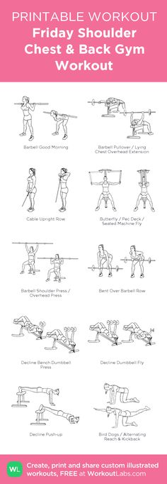 Friday Shoulder Chest & Back Gym Workout: my visual workout created at WorkoutLabs.com • Click through to customize and download as a FREE PDF! #customworkout(Fitness Workouts Chest)