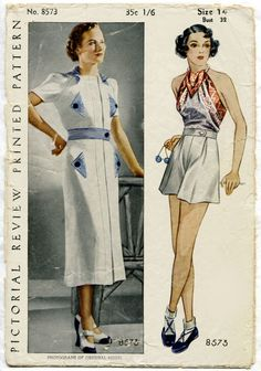 Pictorial Review 8573; ca. late 1930s; Misses' and Women's Sports Ensemble