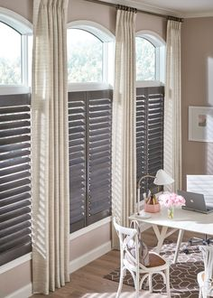 We carry the full line of Graber Blinds and provide a free measurement and quote. Quality blinds at affordable pricing! Shutters With Curtains, Cafe Shutters, Interior Window Shutters, Interior Windows, Wood Shutters, Cafe Curtains, Drapes Curtains, Indoor Shutters, Drapery Panels