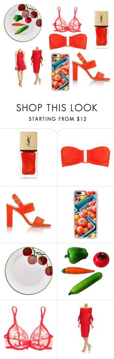 """Tomato"" by efrat-kazoum on Polyvore featuring Yves Saint Laurent, Eres, Manolo Blahnik, Casetify, Sur La Table, Murano, Simone Perele, Milly and Chelsea28"