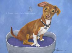 Puppy Dog Fine ART Print ~ Cute pet portrait Doggie Bed Childrens Wall Art, Fun Gifts ,original painting by Theresa Stahl animal art prints Cute Puppies, Dogs And Puppies, Emotional Support Animal, Animal Art Prints, Childrens Wall Art, Therapy Dogs, Dog Paintings, Dog Portraits, Dog Bed