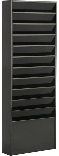 2PK Marbig Magazine//Papers//Documents 3 Section Rack//Organiser Home//Office Black