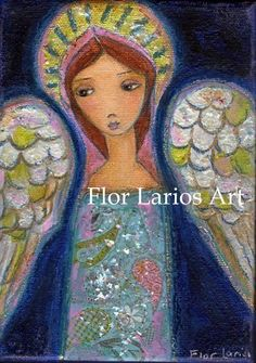 My Wings are for You Angel Print from Painting by FlorLarios