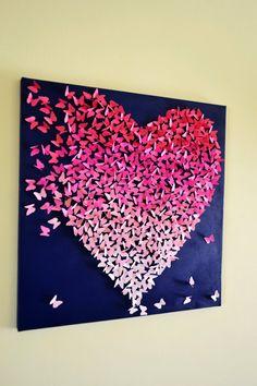 Ombre 3D Butterfly Heart