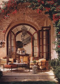 Stylish Patio & Outdoor Space Design Ideas Loggia - Love the bougainvillaea and the patterns with brick.Loggia - Love the bougainvillaea and the patterns with brick. Outdoor Rooms, Outdoor Dining, Outdoor Gardens, Outdoor Patios, Outdoor Kitchens, Outdoor Furniture, Indoor Outdoor, Iron Furniture, Wicker Furniture