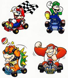 Super Mario Kart original artwork. Super Nintendo, 1992.