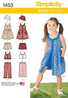 sewing for kids clothes Simplicity Pattern 3 - 4 - 5 - 6 - 7 - - Child Sportswear -Child's Dress, Top, Pants or Shorts and Hat Simplicity Pattern 1453 - sizes Child's Dress, Top, Pants or Shorts and Hat This would be so cute in an adul Childrens Sewing Patterns, Hat Patterns To Sew, Simplicity Sewing Patterns, Dress Sewing Patterns, Clothing Patterns, Sew Pattern, Toddler Dress Patterns, Little Girl Dresses, Girls Dresses