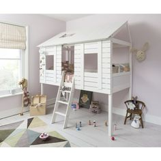 Nöa & Nani – Christopher Midsleeper Treehouse with Underbed. Transform your littles ones' bedroom with this super cute treehouse mid sleeper. Bunk Beds Built In, Kids Bunk Beds, Mid Sleeper Cabin Bed, Cabin Beds For Kids, Treehouse Cabins, Treehouse Ideas, Tree House Designs, Kabine, Childrens Beds