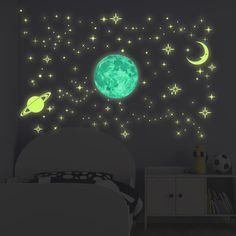 Ebern Designs - Glow In Dark Stars And Moons - + My New Room, My Room, Room Ideas Bedroom, Bedroom Decor, Modern Bedroom, Neon Room, Indie Room, Dark Star, Nursery Wall Decals