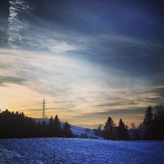 Emmental on Instagram  #snow#winter#at#home#thuesday#evening#sunset#hills#forest#sky#clouds#emmental#cold#february#2013 - @marina___f