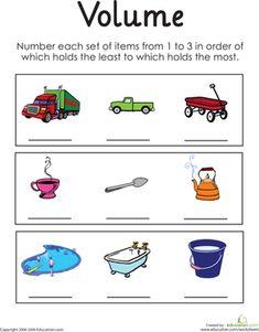 Volume Worksheets For Kindergarten: Determining Relative Volume   Worksheet   Education com,