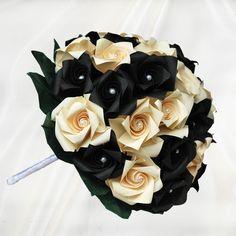 Buy Bridesmaid Black & Ivory Roses Origami Wedding Bouquet