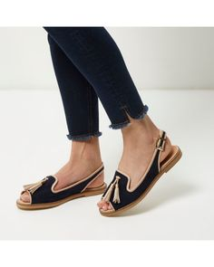 7fc8cf77a2 River Island | Blue Navy Peep Toe Slingback Sandals | Lyst Slingback Sandal,  Peep Toe
