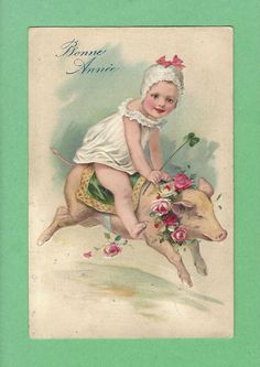 PFB Cute LITTLE GIRL in CAP w/ PINK BOWS riding PIG w/ ROSE COOLLAR & a BLANKET