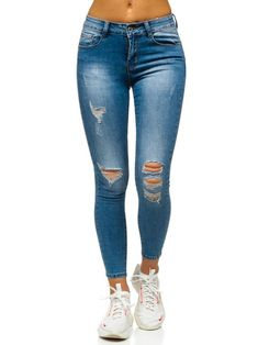 Blugi de dama albastri slim fit cu rupturi Trouser Jeans, Trousers, Polish Girls, Summer Collection, Push Up, Diesel, Calvin Klein, Skinny Jeans, Clothes For Women