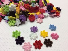 25 mini Furry Felt Padded Flower Appliques by creationandsupplies, $2.50
