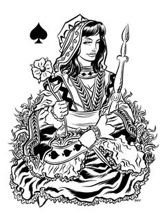Queen of Spades, by Robert Wilson IV. Queen Of Spades, Illustration Art, Illustrations, Pretty Cards, Queen Of Hearts, Printmaking, Tarot, Playing Cards, Playing Card