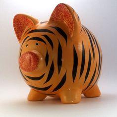 Ceramic Tiger Piggy Bank. Love it. So cute.