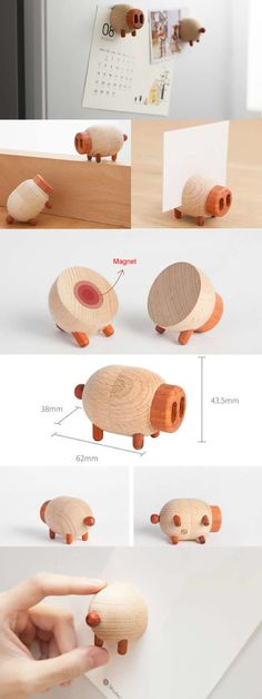 Wooden Magnetic Pig Wedding Place Card Holders Photo Card Holders  Office Desk Organizer