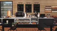 Starbucks Coffee Shop Lot and Objects by DreamTeamSims Episode Interactive Backgrounds, Episode Backgrounds, Sims 4 Restaurant, Ikea Table And Chairs, Anime Coffee, Coffee Shop Signs, String Shelf, Sims 4 Blog, Magazine Wall