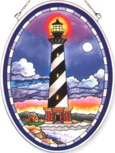Amia Hand Painted Glass Suncatcher with Cape Hatteras Lighthouse Design, 5-1/4-Inch by 7-Inch Oval by Amia. $19.00. Comes boxed, makes for a great gift. Handpainted glass. Includes chain. Amia glass is a top selling line of handpainted glass decor. Known for tying in rich colors and excellent designs, Amia has a full line of handpainted glass pieces to satisfy your decor needs. Items in the line range from suncatchers, window decor panels, vases, votives and much more.