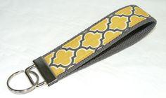 Cute Key Fob Chain Wristlet in Aviary 2 Lattice Yellow Gold/ Charcoal Gray Fabric
