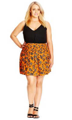 City Chic Folk Print Skirt - Women's Plus Size Fashion City Chic - City Chic…