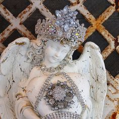 vintage Cherub wall ANGEL rhinestone CROWN jewelry lot heart