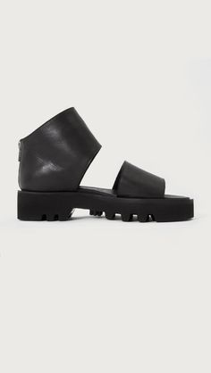 The Stone Black Leather Ankle Strap Sandal by LD Tuttle