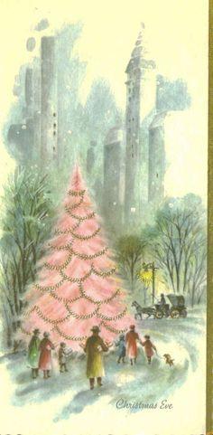 Vintage Pink Christmas Card