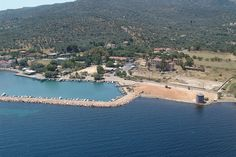 An aerial view of Thermi port,Lesbos island Crystal Clear Water, Greek Islands, Holiday Destinations, Aerial View, Greece, Tourism, River, Landscape, World