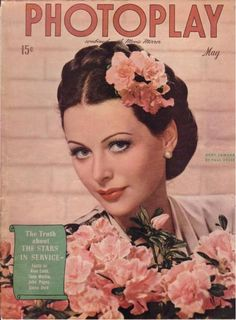 Todays 1940s hair and makeup inspiration from Hedy Lamarr on the cover of photoplay magazine, May 1944.