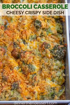 Cheesy Broccoli Casserole with a crispy topping in 40 minutes! Vegetarian Main Dishes, Veggie Side Dishes, Side Dish Recipes, Asian Recipes, Vegetarian Recipes, Cooking Recipes, Healthy Recipes, Delicious Recipes, Easy Recipes