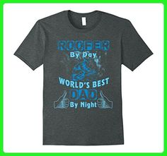Mens Funny T-Shirt Roofer By Day World's Best Dad By Night Medium Dark Heather - Relatives and family shirts (*Amazon Partner-Link)