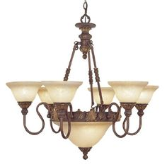 Livex Lighting 8606-30 Chandelier with Vintage Scavo Glass Shades, Crackled Greek Bronze with Aged Gold Accents