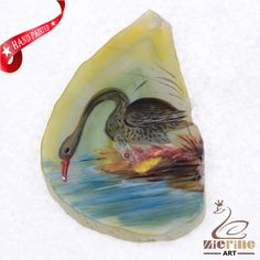 HAND PAINTED SWAN GEMSTONE UNIQUE NECKLACE PENDANT BEAD D1704 1835 #ZL #PENDANT