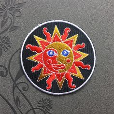 Sun face Patch Punk Patches Individuality Hat patches Embroidered Iron-On Patches sew on patches