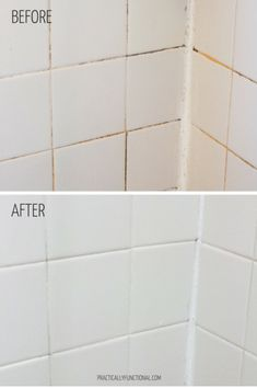 Want a simple trick for cleaning grout in your shower, bath, or kitchen? This is the absolute BEST homemade grout cleaner; just baking soda and bleach! Homemade Grout Cleaner, Cleaners Homemade, Diy Cleaners, Household Cleaners, Clean Shower Tile Grout, Cleaning Bathroom Tiles, Bathroom Cleaners, Bathroom Hacks, House Cleaning Tips