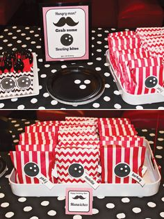 Strikes & 'Staches Bowling Party {Boys Birthday} // Hostess with the Mostess® Birthday Gift Bags, Boy Birthday, Birthday Ideas, Birthday Cakes, Moustache Party, Mustache Theme, Bowling Party, Childrens Party, Holiday Parties