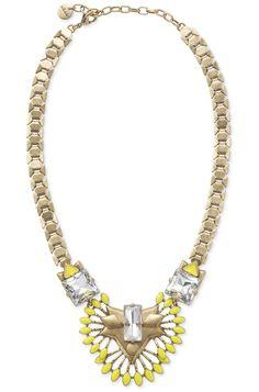 Yellow & Glass Stone Statement Necklace | Norah Pendant | Stella & Dot