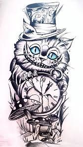 Bildergebnis für Cheshire Cat Zeichnung - Tattoos that I love - Katzen Mad Hatter Drawing, Mad Hatter Tattoo, Cheshire Cat Drawing, Cheshire Cat Tattoo, Tattoo Sleeve Designs, Sleeve Tattoos, Owl Tattoos, Cheshire Cat Zeichnung, Alice And Wonderland Tattoos
